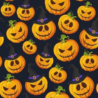 Patrón sin fisuras de calabaza de halloween