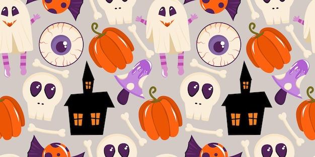 Patrón sin fisuras con una calavera una casa espeluznante setas para halloween ilustración vectorial