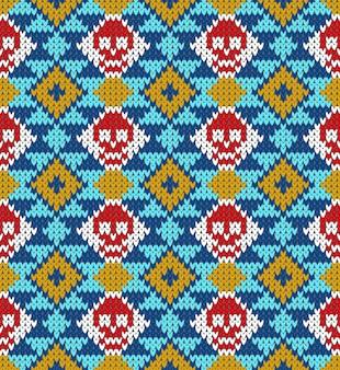 Patrón sin fisuras con calavera y elementos étnicos mexicanos y adornos latinoamericanos