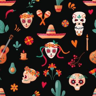 Patrón sin fisuras con calaveras de azúcar, decoración floral y frutas en el fondo oscuro. vacaciones mexicanas.