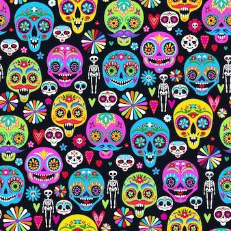 Patrón sin fisuras con calaveras de azúcar para la decoración del hogar de vacaciones. dia de los muertos