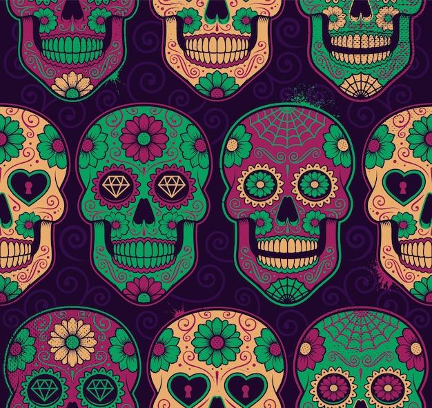 Patrón sin fisuras de calaveras de azúcar mexicanas. cada color está en un grupo