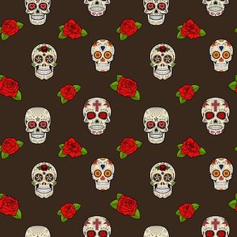 Patrón sin fisuras con calaveras de azúcar y rosas. dia de los muertos.