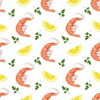 Patrón sin fisuras con camarones o gambas, rodajas de limón y hojas de perejil.