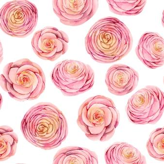 Patrón sin fisuras de capullos de rosas rosas acuarelas