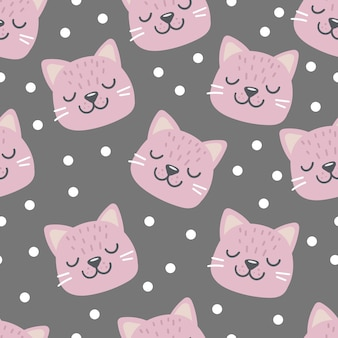 Patrón sin fisuras con cara de cabeza de gato rosa con ojos cerrados personaje divertido de dibujos animados lindo