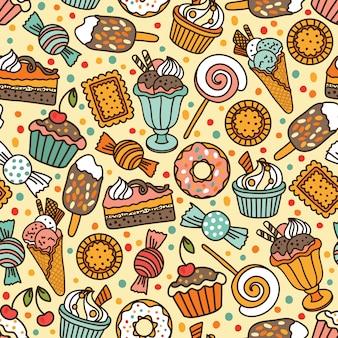 Patrón sin fisuras con caramelos y dulces