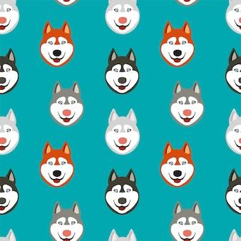 Patrón sin fisuras con caras felices de perro husky.