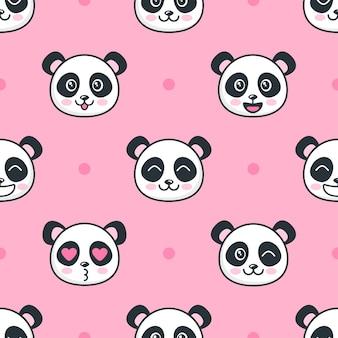 Patrón sin fisuras con caras de panda divertidos dibujos animados