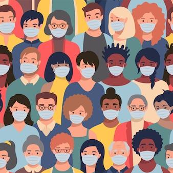 Patrón sin fisuras con caras de personas en máscaras protectoras de diferentes etnias y edades. concepto de protección contra la contaminación del aire.