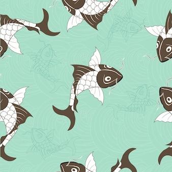 Patrón sin fisuras de la carpa china de koi. vector fondo azul con pescado
