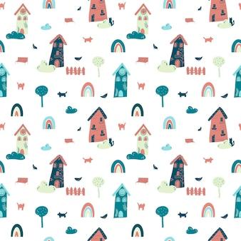Patrón sin fisuras con casas de hadas y arco iris en estilo plano de dibujos animados