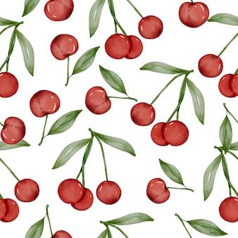 Patrón sin fisuras de cereza y hoja verde vector gratuito