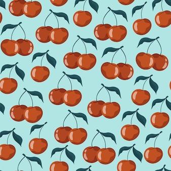 Patrón sin fisuras con cerezas y cerezas dulces sobre un fondo azul pastel. ilustración de stock. para envolver diseño de papel y redes sociales. lindo dibujo infantil. estilo dibujado a mano.