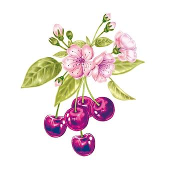 Patrón sin fisuras con los cerezos en flor.