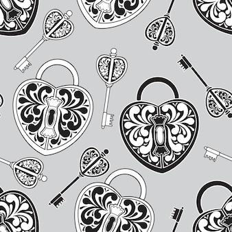 Patrón sin fisuras de cerraduras y llaves, gris, blanco y negro.