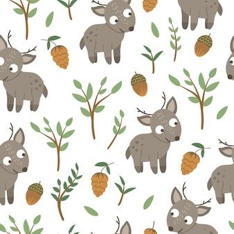 Patrón sin fisuras de ciervo bebé plano divertido dibujado a mano con bellotas, conos, setas y ramitas.