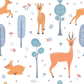 Patrón sin fisuras con ciervos, ciervos, corzos en el fondo de un árbol, planta, arbusto y diferentes elementos. ilustración