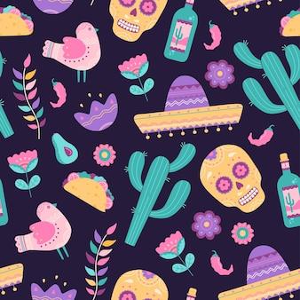 Patrón sin fisuras del cinco de mayo con símbolos mexicanos tradicionales calavera, cactus, sombrero, tequila y burrito. colección de elementos dibujados a mano en estilo de dibujos animados planos, aislado sobre fondo azul, púrpura