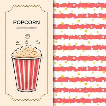 Patrón sin fisuras de cine con rayas rojas de pincel dibujado a mano y palomitas de maíz voladoras