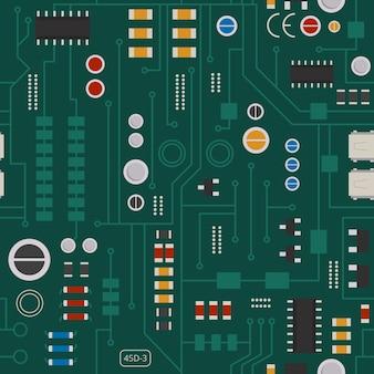 Patrón sin fisuras de circuito electrónico con diodos, chips y transistores. placa base eléctrica de fondo e ilustración de componentes