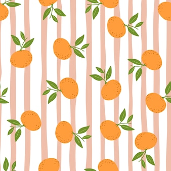 Patrón sin fisuras de cítricos con adornos de mandarina al azar