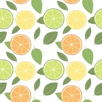 Patrón sin fisuras de cítricos naranja limón lima vector patrón en el estilo escandinavo backgro