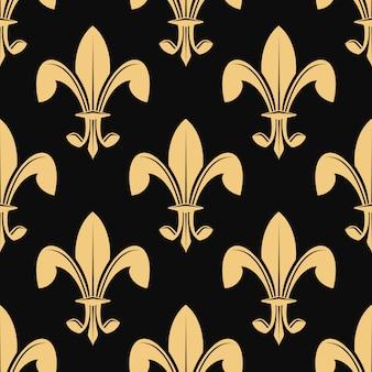 Patrón sin fisuras de la clásica flor de lis dorada