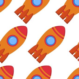 Patrón sin fisuras con cohete espacial. ilustración vectorial.