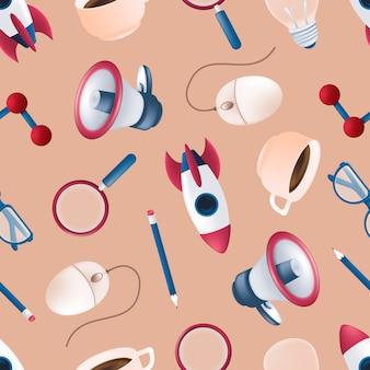 Patrón sin fisuras con cohete volador, elemento de ciencia, megáfono, lupa, ratón de la computadora, taza de café, lápiz, bombilla, gafas. ilustración para imprimir en textil o papel de regalo