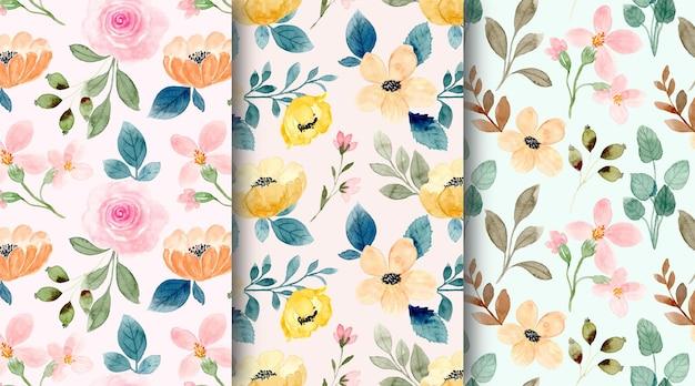Patrón sin fisuras de la colección de flores de acuarela