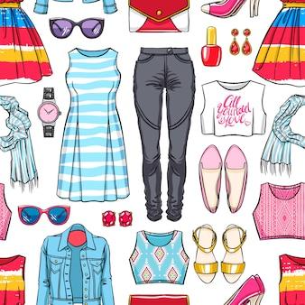 Patrón sin fisuras con colorida ropa de verano femenina