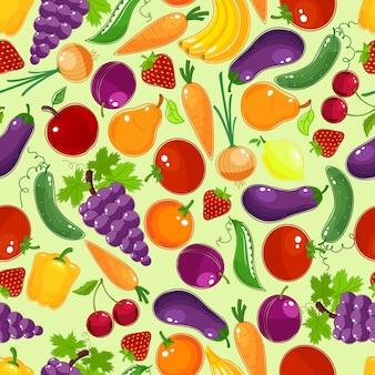 Patrón sin fisuras de coloridas frutas y verduras