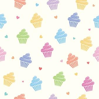 Patrón sin fisuras de coloridos cupcakes