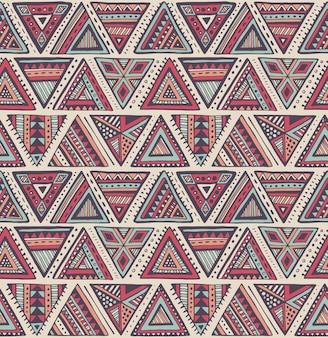 Patrón sin fisuras con coloridos elementos étnicos dibujados a mano