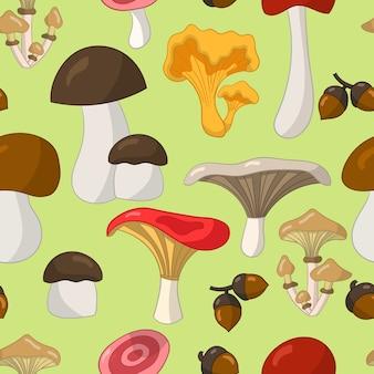 Patrón sin fisuras con coloridos hongos comestibles sobre un fondo verde