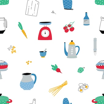 Patrón sin fisuras con coloridos utensilios de cocina dibujados a mano y equipos en blanco