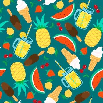 Patrón sin fisuras con comida y bebidas de verano en un estilo sencillo
