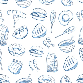 Patrón sin fisuras de comida deliciosa con estilo doodle o dibujado a mano