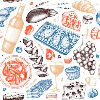Patrón sin fisuras de comida francesa tradicional. con bocetos dibujados a mano de vino, platos de carne, postres y bocadillos. fondo vintage de restaurante de comida francesa.