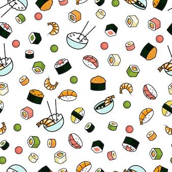 Patrón sin fisuras con comida japonesa, sushi y rollos sobre fondo blanco.