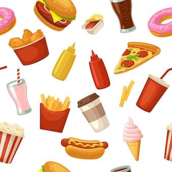 Patrón sin fisuras de comida rápida taza cola donut batido hamburguesa hotdog ketchup vector plano