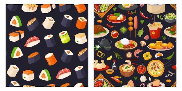 Patrón sin fisuras de comida sushi japonés tradicional
