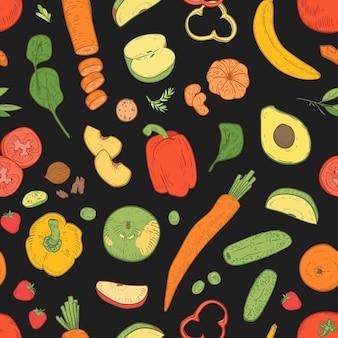 Patrón sin fisuras con comida vegetariana saludable.