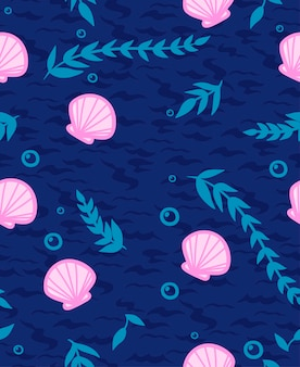Patrón sin fisuras con conchas, burbujas y algas.