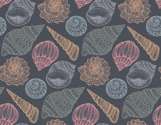 Patrón sin fisuras con conchas marinas ornamentadas dibujadas a mano