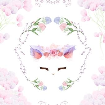 Patrón sin fisuras conejito vintage en flores.