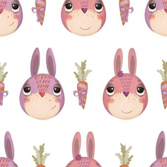 Patrón sin fisuras con conejitos de dibujos animados y zanahorias sobre un fondo blanco