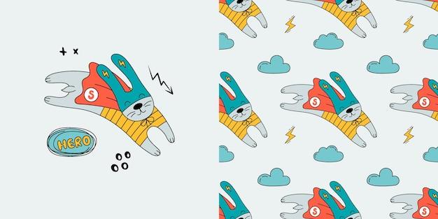 Patrón sin fisuras de conejo. doodle con liebre.