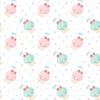 Patrón sin fisuras con un conjunto de cupcakes lindos doodle, muffin dibujado a mano
